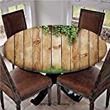"""Elastic Edged Polyester Fitted Table Cover,Fresh Spring Grass and Leaf Plant Over Old Wood Fence Garden Field Photo,Fits up 40""""-44"""" Diameter Tables,The Ultimate Protection for Your Table,Green Brown"""