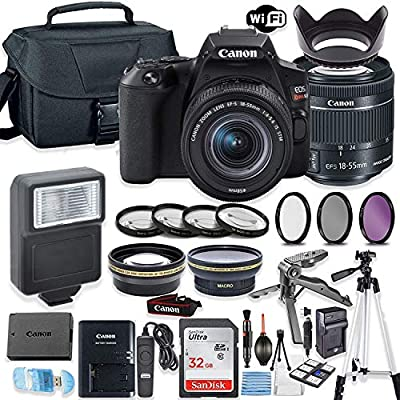 Canon EOS Rebel SL3 DSLR Camera Bundle with Canon EF-S 18-55mm STM Lens + 32GB Sandisk Memory + Camera Case + Digital Flash + Accessory Bundle by Canon