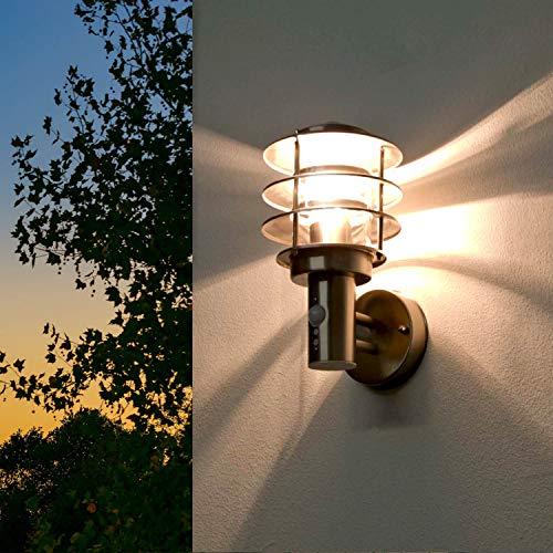 Wandleuchte mit Bewegungsmelder Silber E27 Edelstahl IP44 Maritime Lampe für Außen Balkon Fassade