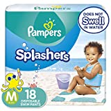 Swim Diapers Size 4 (20-33 lb), 18 Count - Pampers Splashers Disposable Swim Pants, Medium, Pack of 2
