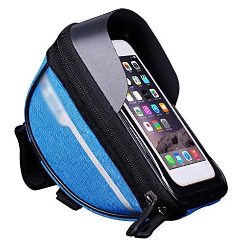 WOOAI Vélo Vélo Tête Tube Guidon Cellulaire Téléphone Mobile Sac Housse Etui Housse Étanche Tactile Polyester Vélo Polyester ba, Couleur: Bleu