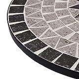 vidaXL Mosaik Bistrotisch Gartentisch Balkontisch Mosaiktisch Terrassentisch Tisch Beistelltisch Couchtisch Gartenmöbel Grau 61cm Keramik - 3