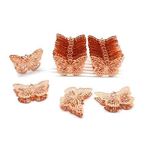 CVHOMEDECO Mariposas de metal de oro rosa para colgar y decorar el hogar - Accesorios de decoración para dormitorios, bodas, fiestas, cumpleaños, día de San Valentín y días festivos