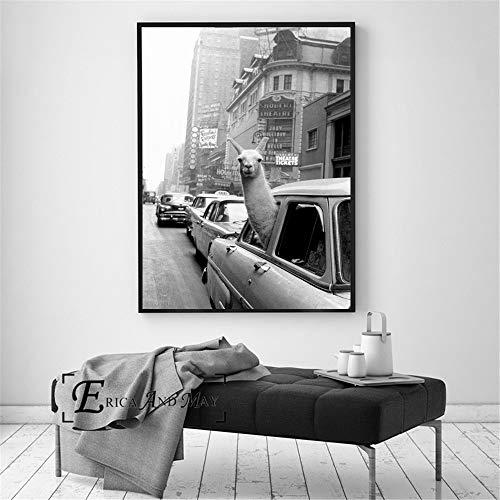 QAZEDC canvas schilderij Bel een taxi op Times Square canvasdruk modern schilderij poster muurkunst schilderijen voor woonkamer decoratie geen lijst