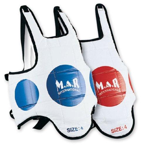 M.A.R International Ltd Brustschutz mit Trefferzielen, MMA-Körperschutz, Schutz für Muay-Thai-Training, Taekwondo, Karate, Kickboxen, Sparring, Boxen, Kampfsport-Zubehör, wendbar, White Red/Blue, Kinder M