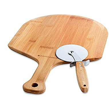 BambooWorx Pizza Making Set, Bamboo Pizza Peel + Pizza cutter, The Perfect Set to Start the Homemade Pizza Journey, | Bamboo Paddle Also Uses as a Bread Baking & Cheese Serving Board | 4 Inch Blade.