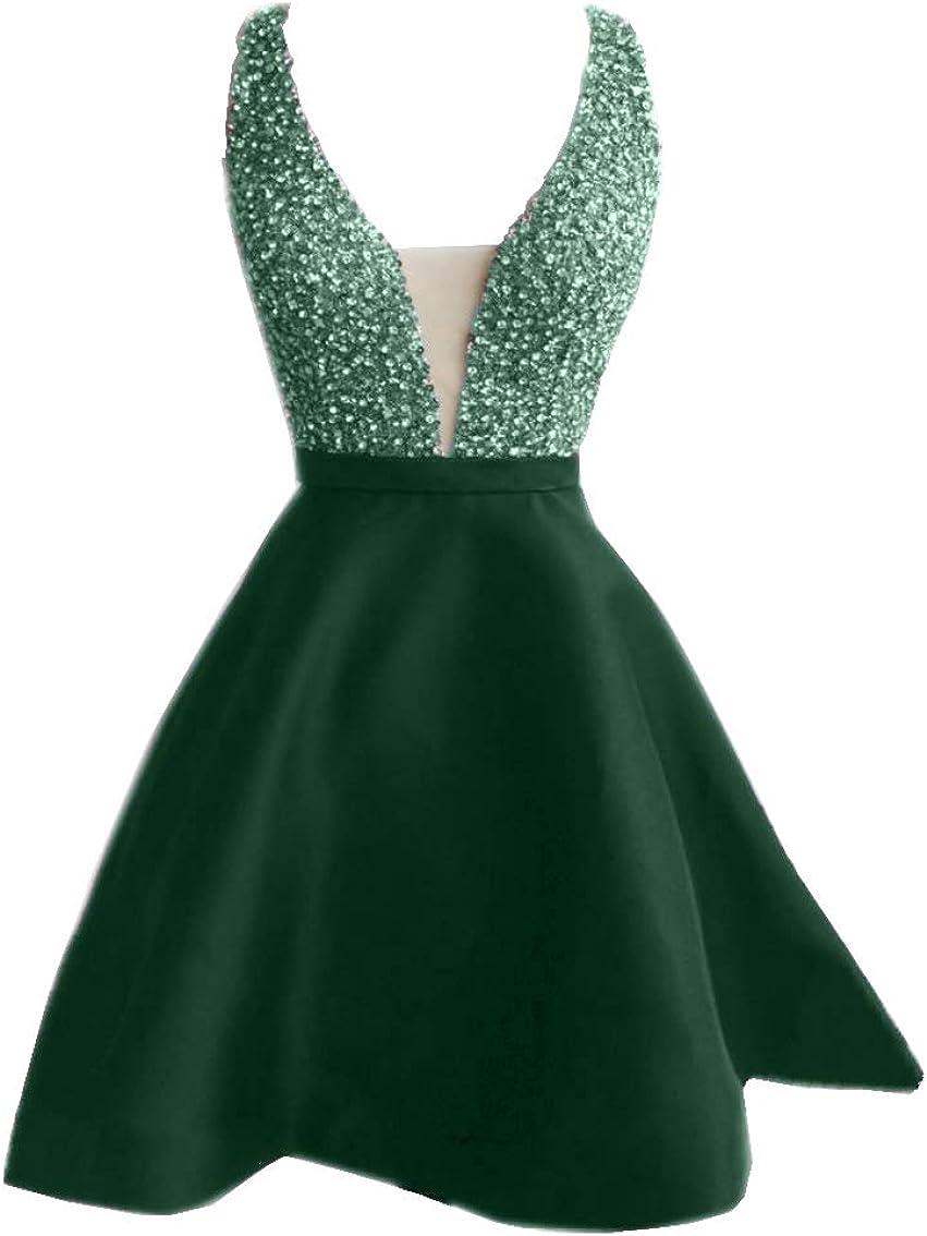 Promworld Women's Crystal V-Neck A-Line Satin Short Cocktail Party Dress
