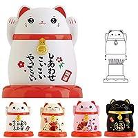 3個ピンクの結婚猫ラッキーキャットつまようじジャー新年のフォーチュンつまようじホルダーラッキーフォーチュンつまようじボックス中国のプラスチックダストH (Color : White)