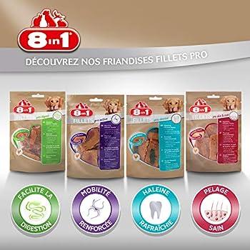 8in1 Fillet Pro Dental Friandises pour chiens adultes et seniors de grandes races – Pour une haleine fraîche – Au poulet – Lot de 8 x 80g