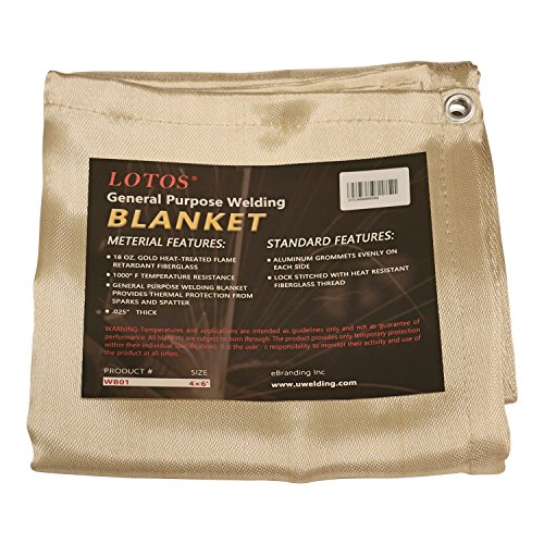 Lotos Technology WB014x6 Lotos 4' x 6' Fiberglass Heat Treated Gold Welding Blanket with Grommets Resists 1000F
