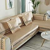 YUTJK Cubierta de sofá Fresco Lavable y Plegable,Funda de sofá de Esquina,Fundas de Asiento de sofá de Tela para Sala de Estar,Funda Protectora de Muebles,Beige 2_70×150cm