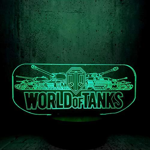 3D Illusion Lampe Led Veilleuse World Of Tank Jeu Chaud Bon Cadeau Pour Les Jeux Fans Lune Décor À La Maison Adolescent Fête Enfants D'Anniversaire Vacances Cadeau Table Lampe