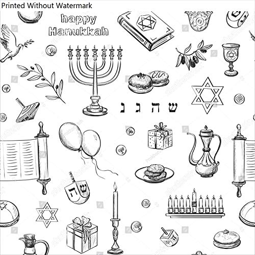KwikMedia Poster of Pattern Happy Hanukkah. Traditional Jewish Symbols and Attributes of The Holiday