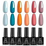 Beetles Gel Nail Polish Set, Hotel California Collection Light Blue Orange Dusty Pink