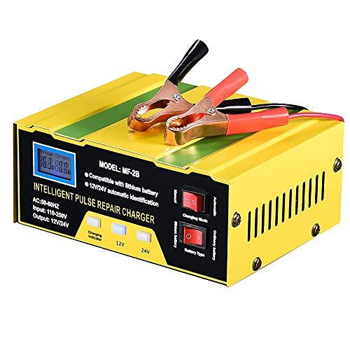PERFIT Cargador de batería para coche, 10 A, 12 V/24 V, cargador automático, monitor de carga, batería para plomo, enchufe europeo