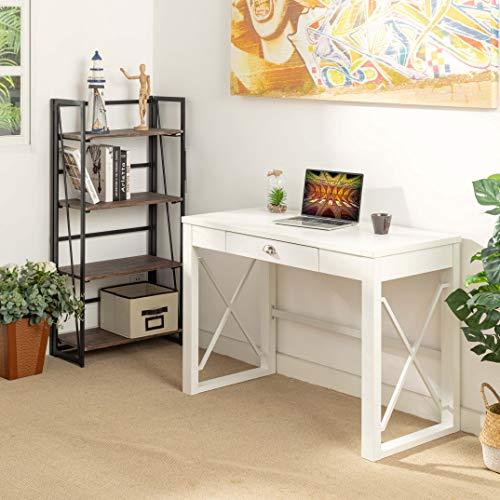 Homybec Amazon Brand - Mesa de Ordenador con cajón, Moderna, de Madera, para Dormitorio, salón, 112 cm, Color Blanco, 112 x 51 x 76,5 cm