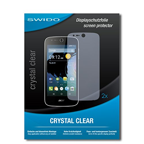 SWIDO Schutzfolie für Acer Liquid Z330 [2 Stück] Kristall-Klar, Hoher Festigkeitgrad, Schutz vor Öl, Staub & Kratzer/Glasfolie, Bildschirmschutz, Bildschirmschutzfolie, Panzerglas-Folie