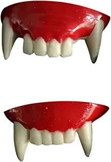 Unionm Halloween Toys, Halloween Props, 2pc Prank Vampire Teeth Zombie Front Teeth Plastic Soft Tooth Braces DIY Decoration Toys Ghost's Day Haunted House Decoration for Party Bar (Red)