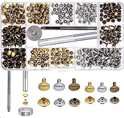 LAKII 180Set 2Größen Leder-Nieten Doppelkopf-Nieten Stahlrohr Metall-Nieten mit 3Werkzeugen für Heimwerker Leder-Basteln, Nieten-Ersatz, 3Farben Gold, Silber und Bronze