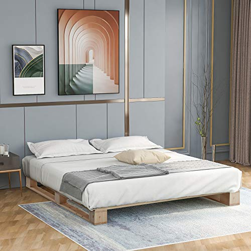 Merax Hochwertiger Holzbettrahmen aus Holz, Plattformbett mit starker Lamellenstütze, Naturholz 140 x 200 cm