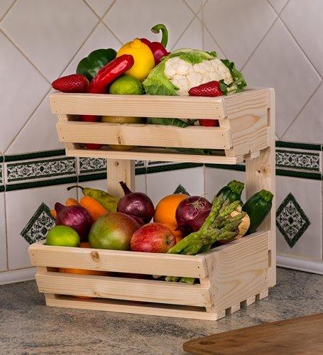 Wooden Rack Holder 2 Tier Wall Classic Vegetable Rack