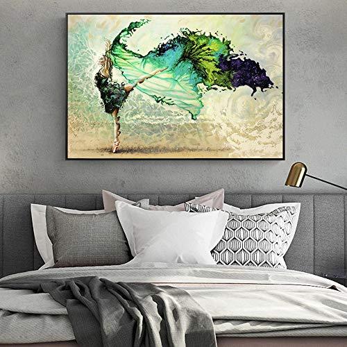 LLXXD Moderne abstrakte Leinwand Malerei Green Dancer Poster und Drucke Malerei Wandkunst Bilder für zu Hause Wohnzimmer Dekoration-60x80cm (kein Rahmen)
