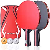 Sportout Table Tennis Racket, Ping Pong Paddle Set with 2 Bats and 3 Ping Pong Balls and Table Tennis Paddle Case