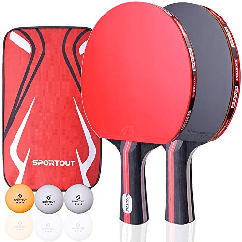 Sportout Table Tennis Racket Ping Pong Paddle Set with 2 Bats and 3 Ping Pong Balls and Table Tennis Paddle Case