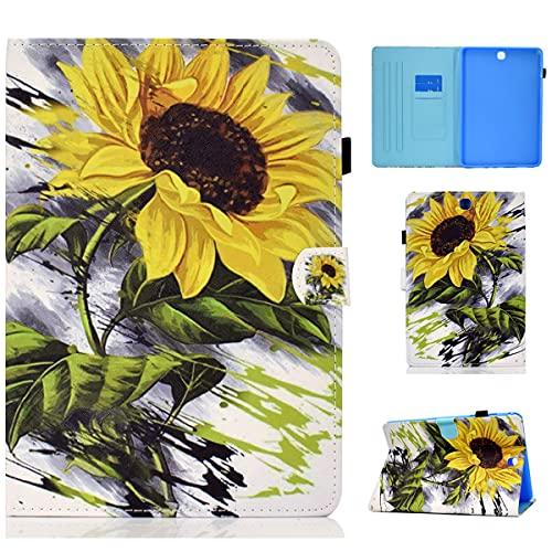 LMFULM® Hülle für Samsung Galaxy Tab A SM-T550 / T555 (9,7 Zoll) PU Lederhülle Abdeckung Leder Wallet Case mit Auto Schlaf/Wach Cover Ständer Schutzhülle Flip Cover Sonnenblume