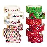 TheStriven 12 Rollos de Cinta Adhesiva Navidad Washi Tape Navidad Cinta Adhesiva Decorativa Cinta Adhesiva Decorativa Cinta Adhesiva Decorativas para Manualidades y artesanía, Scrapbooking (B)