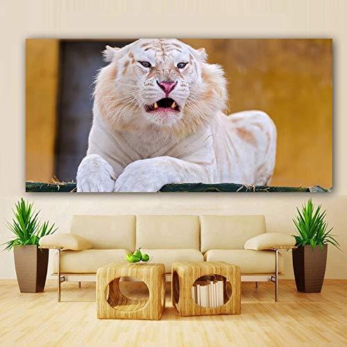 wZUN Tigre Blanco Animal Salvaje Pintura en Lienzo Carteles e Impresiones imágenes murales de Sala de Estar 60x120 Sin Marco