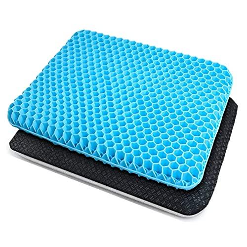 Cojín de gel transpirable con funda de plástico antideslizante y innovador cojín de gel de panal, para oficina, coche, silla de ruedas