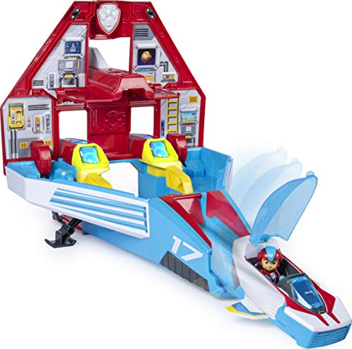 Paw Patrol Super PAWs, 2-in-1 Transforming Mighty Pups Jet Command Centre with Lights and Sounds (2019)
