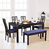 HomeTown Daiton Rubber Wood + Glass Six Seater Dining Set in Expresso Colour