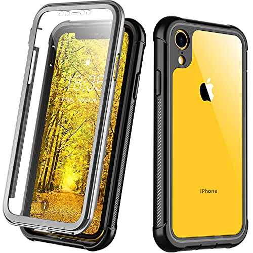 Justcool Compatible with iPhone XR Case, Built-in Screen Protector Heavy Duty Full Body Shockproof Case (Black/Clear)