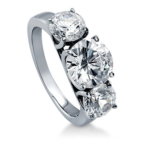BERRICLE Rhodium Plated Sterling Silver Round Cubic Zirconia CZ 3-Stone Anniversary Engagement Ring 3.72 CTW Size 7