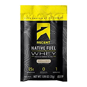 Ascent Native Fuel Whey Protein Powder – Cappuccino – 15 Single Serving Packets