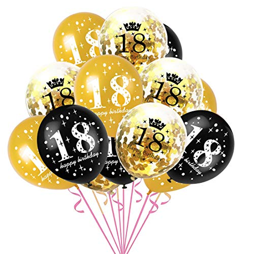 JinSu 18. Geburtstag Dekorationen Luftballons, 15 Stück mit Konfetti Ballons und Latex Ballons für Geburtstag Dekoration (Gold)