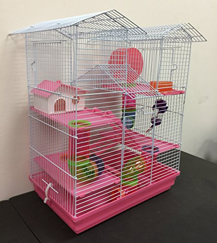 Large 5-Floor Twin Towner Play Tube Habitat Syrian Hamster Rodent Gerbil Mouse Mice Rat Wire Animal Critter Cage (Pink)