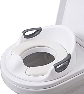 Anillo para entrenador de inodoro para niños o niñas | Superficie antideslizante segura/Aro para inodoro para niños/asiento para inodoro para bebé,Reductor de WC, Blanco/Gris