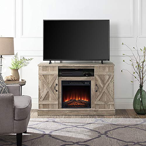 """BELLEZE 47"""" TV Stand Entertainment Center for TV's Up to 50"""" W/Infrared Electric Fireplace and Remote Control, Ashland Pine"""