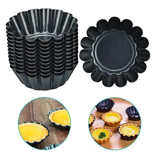 LYTIVAGEN 12 PCS Moules à Tarte aux œufs Réutilisables Moules à Tartelettes en Acier au Carbone Tarte Oeuf pan Antiadhésif Moulle Cupcakes Moule à Quiche pour Tartes Puddings Muffins DIY(Noir)