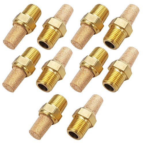 """mxuteuk 10pcs Brass Pneumatic Muffler Filter Noise Silencer, Hex Sintered Silencer Air Line Fitting 1/8"""" NPT XYQ-G-(1-8)"""