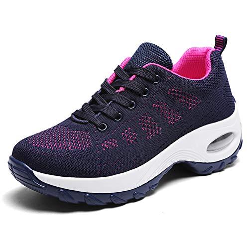 WOWEI Zapatillas Deportivas de Mujer Ligero Respirable Running Sneakers Mesh Plataforma Mocasines Zapatos de Cuña,Azul,37 EU