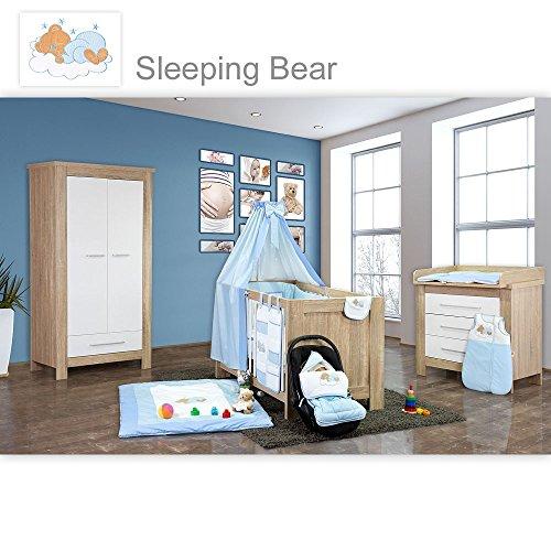 Babyzimmer Enni 21-tlg. in der Farbe Sonoma/Weiß mit 2 türigem Kl. + Textilien Sleeping Bear, Blau