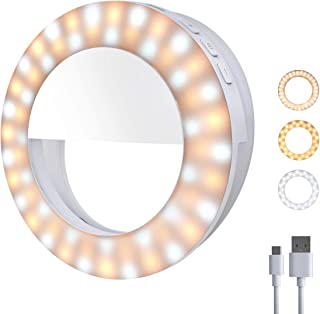 Gospire Selfie Ring Light, Upgraded [60 Built-in LED Lights] Rechargeable Clips On Phone Ring Light [3 Color Modes & 4 Lev...