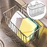PFETSELL Porte-éponge de cuisine en acier inoxydable pour évier de cuisine Panier...