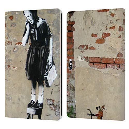 Officiële Brandalised Meisje op een kruk Banksy Getextureerde Kunst Lederen Book Portemonnee Cover Compatibel voor Microsoft Surface Pro 4/5/6