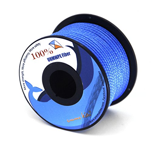 emma kites Blue UHMWPE Braided Cord High Strength Least Stretch Tent Tarp Rain Fly Guyline Hammock Ridgeline Suspension for Camping Hiking Backpacking Survival Recreational Marine Outdoors 100Ft 220Lb