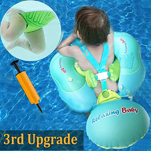 TURNMEON Baby Swimming Pool Float,Baby Floats Swim Training Aid with Safety Seat Double Airbag for Infant Baby Toddler Kid (L)